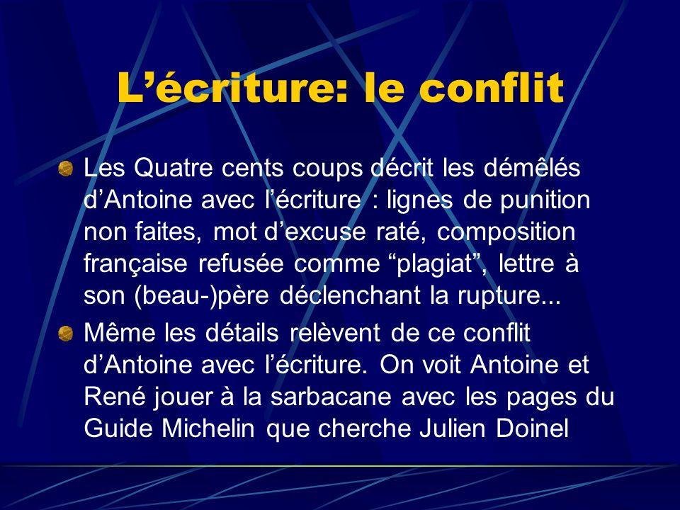 Lécriture: le conflit Les Quatre cents coups décrit les démêlés dAntoine avec lécriture : lignes de punition non faites, mot dexcuse raté, composition