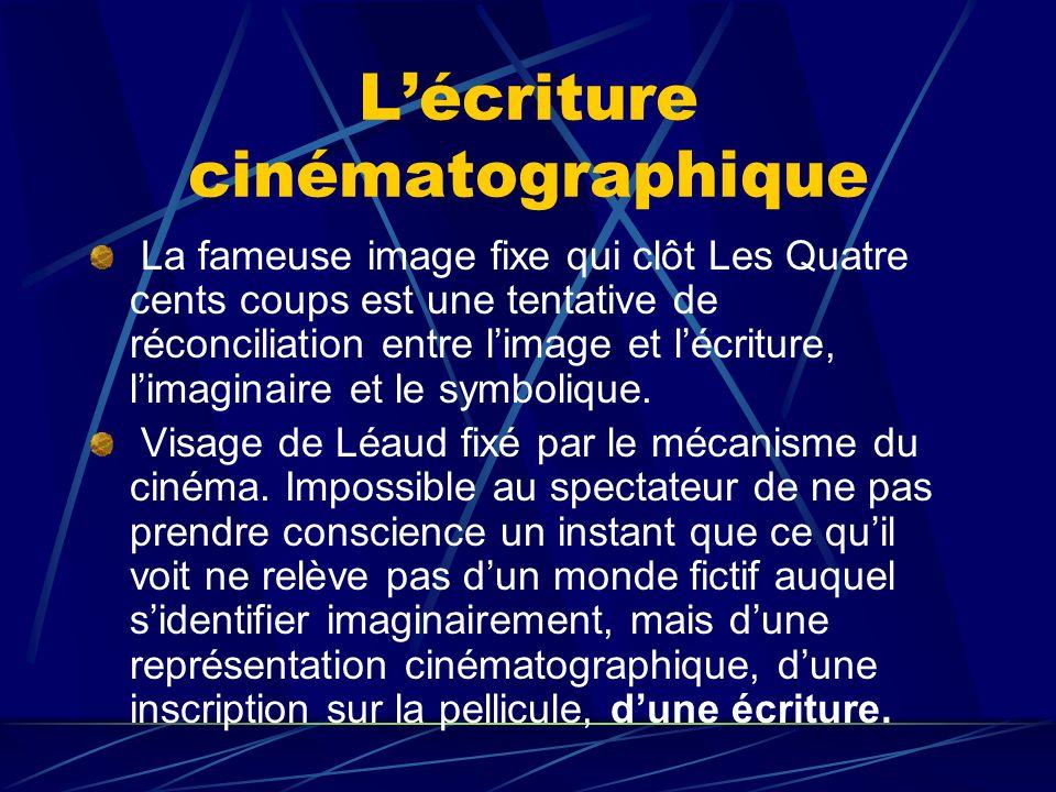 Lécriture cinématographique La fameuse image fixe qui clôt Les Quatre cents coups est une tentative de réconciliation entre limage et lécriture, limag