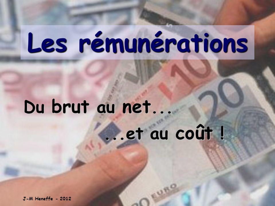 Les rémunérations Du brut au net......et au coût ! J-M Heneffe - 2012