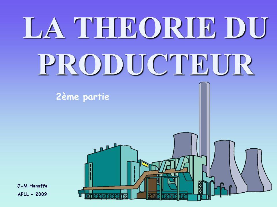 LA THEORIE DU PRODUCTEUR J-M Heneffe APLL - 2009 2ème partie