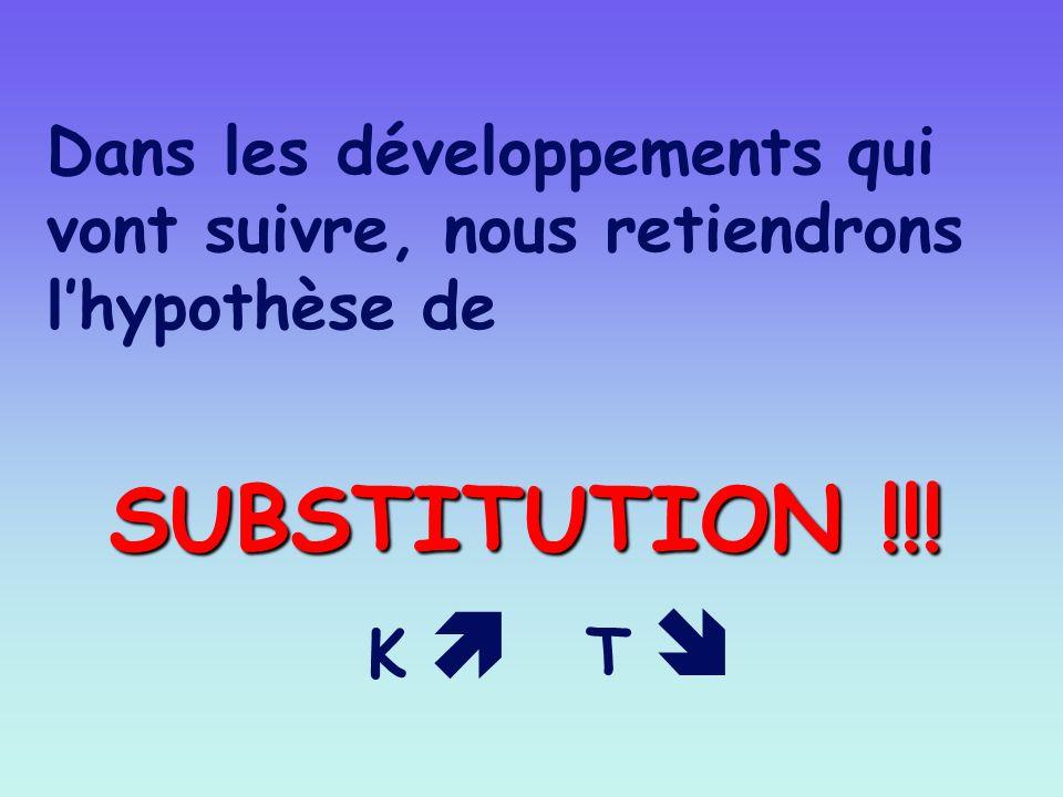 Dans les développements qui vont suivre, nous retiendrons lhypothèse de SUBSTITUTION !!! K T