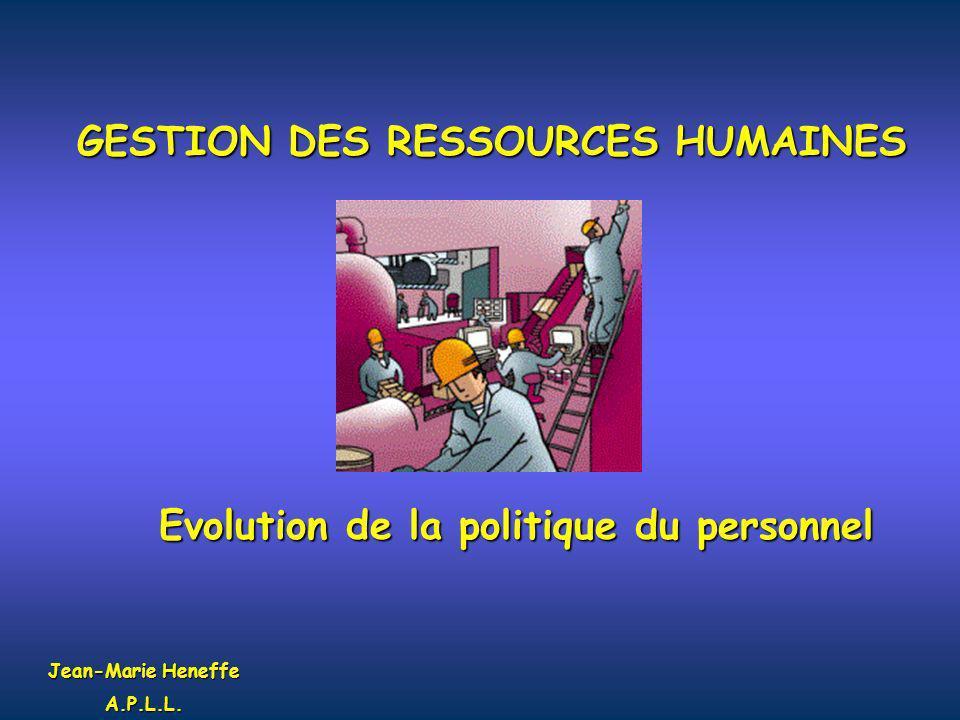 GESTION DES RESSOURCES HUMAINES Evolution de la politique du personnel Jean-Marie Heneffe A.P.L.L.