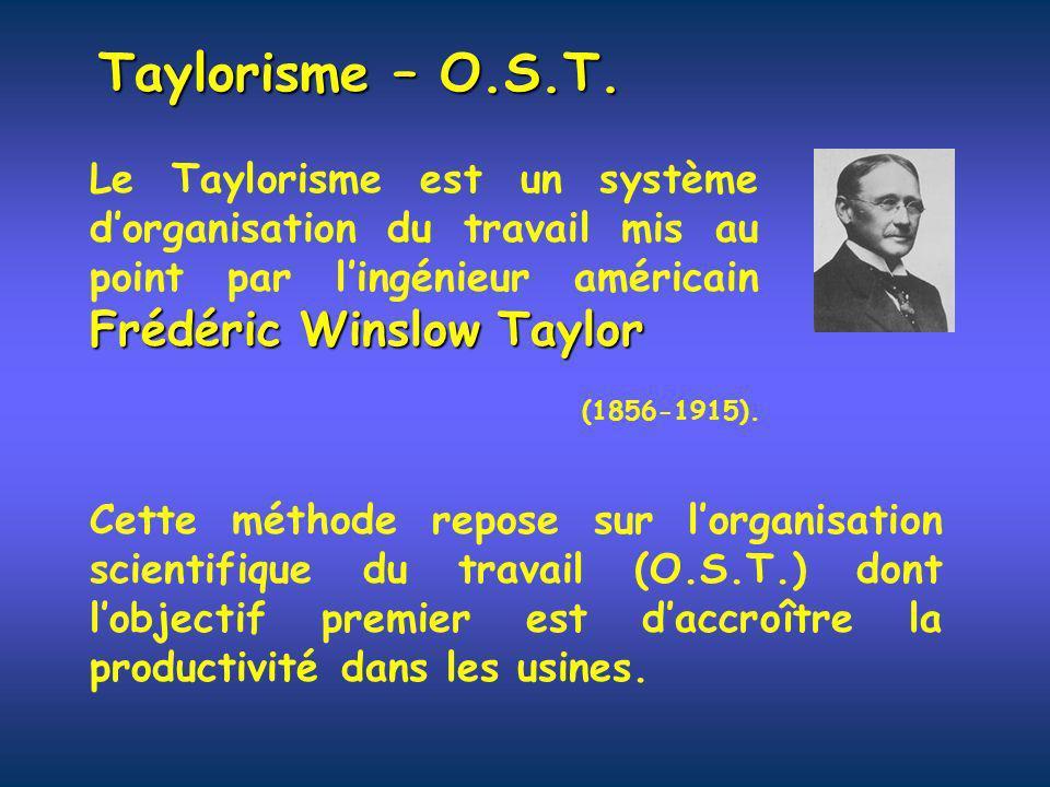 Taylorisme – O.S.T. Frédéric Winslow Taylor Le Taylorisme est un système dorganisation du travail mis au point par lingénieur américain Frédéric Winsl