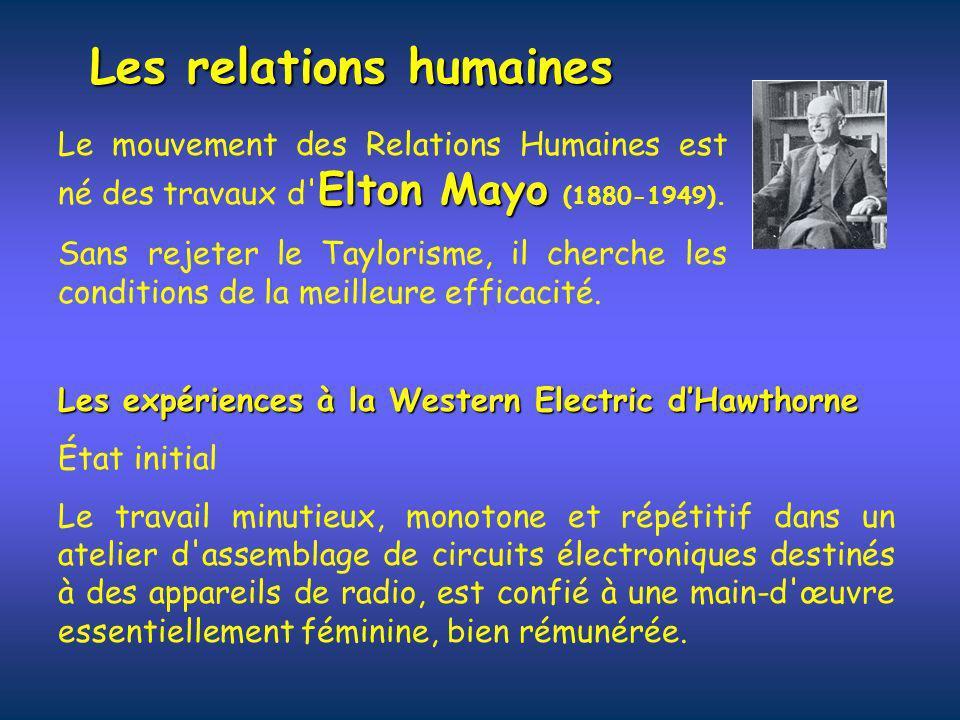 Les relations humaines Elton Mayo Le mouvement des Relations Humaines est né des travaux d' Elton Mayo (1880-1949). Sans rejeter le Taylorisme, il che
