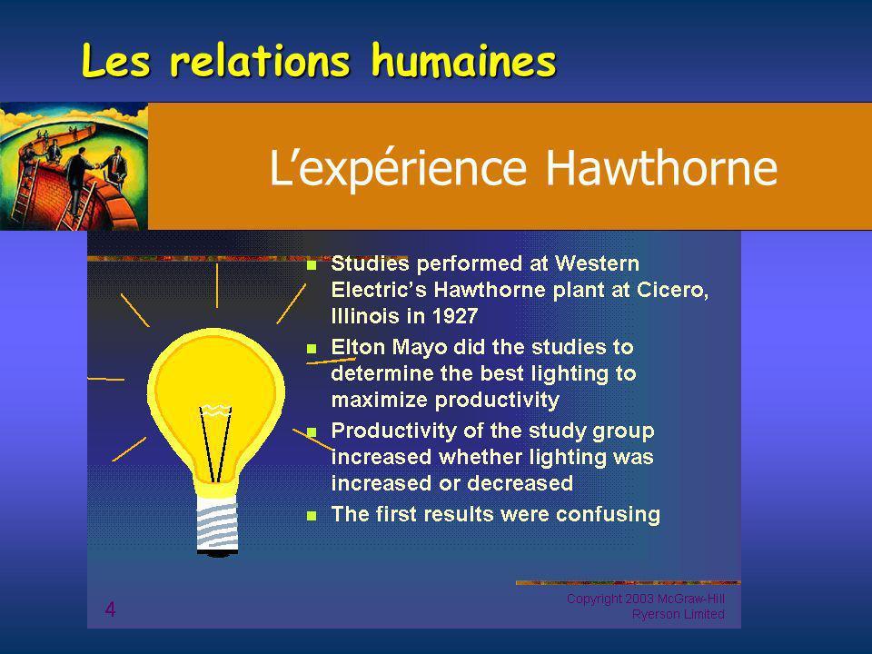 Les relations humaines Lexpérience Hawthorne