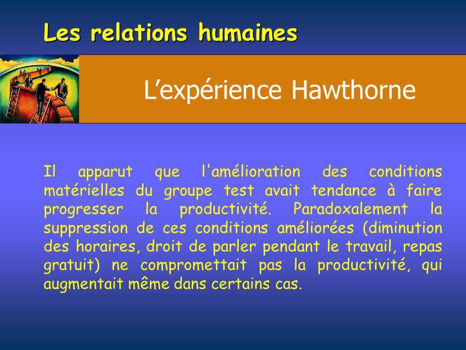 Les relations humaines Il apparut que l'amélioration des conditions matérielles du groupe test avait tendance à faire progresser la productivité. Para