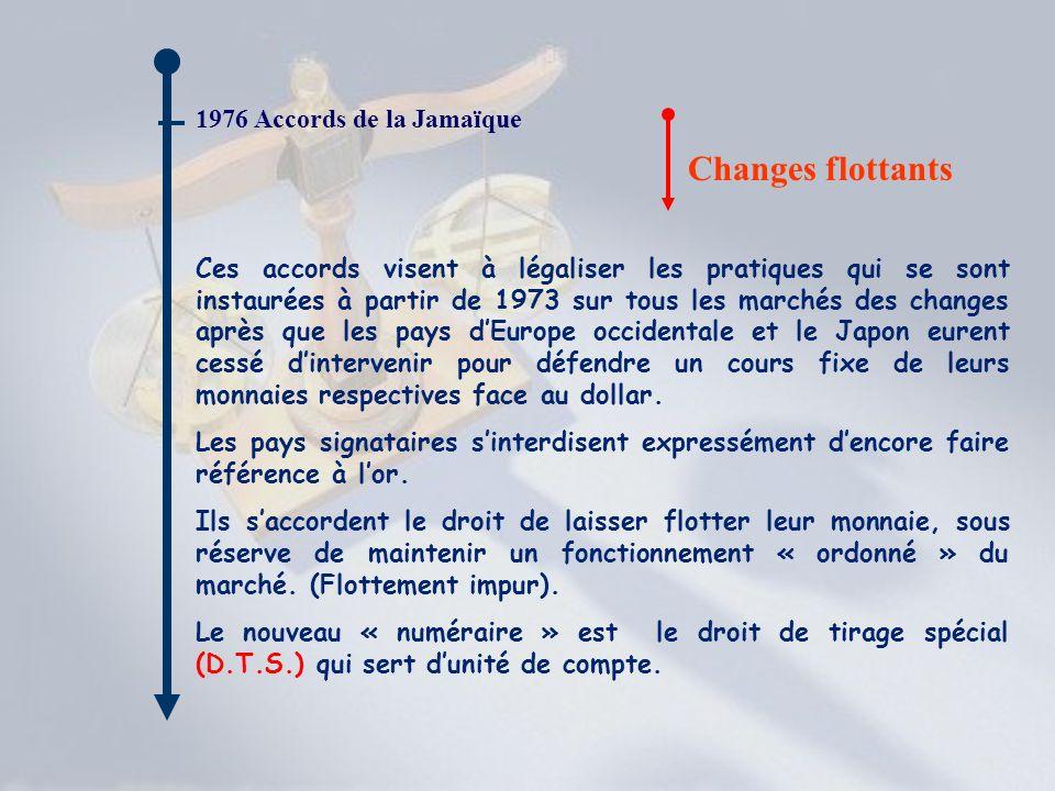 1976 Accords de la Jamaïque Changes flottants Ces accords visent à légaliser les pratiques qui se sont instaurées à partir de 1973 sur tous les marché