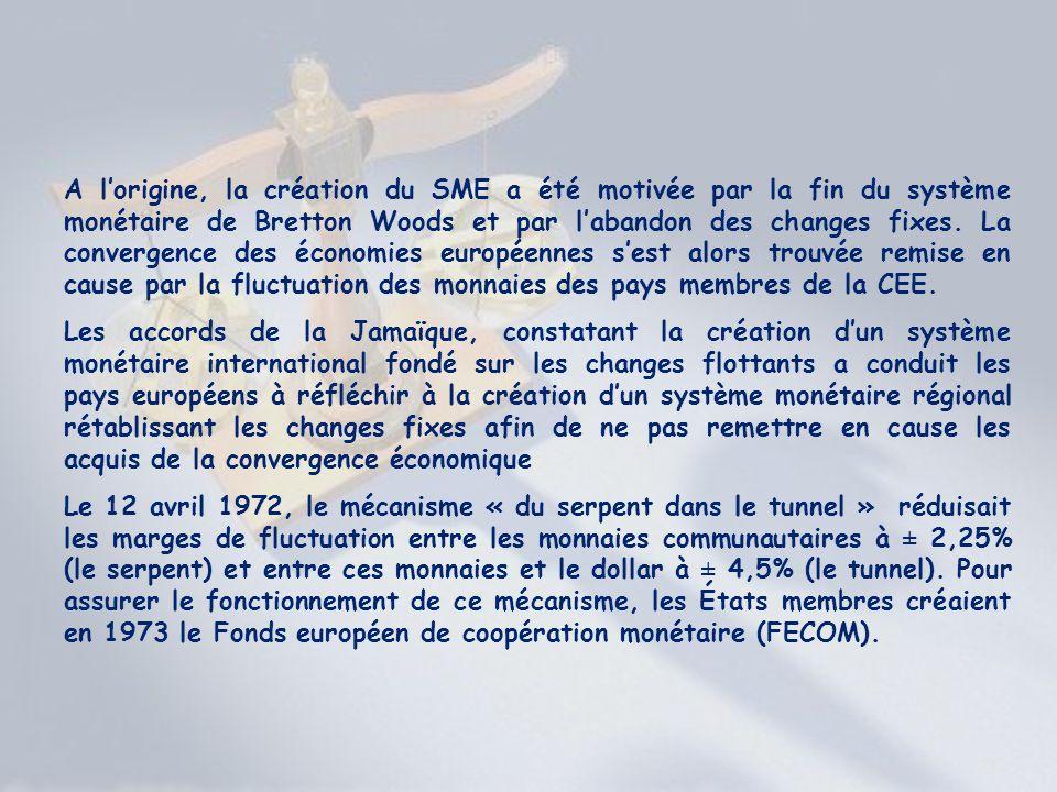 A lorigine, la création du SME a été motivée par la fin du système monétaire de Bretton Woods et par labandon des changes fixes. La convergence des éc