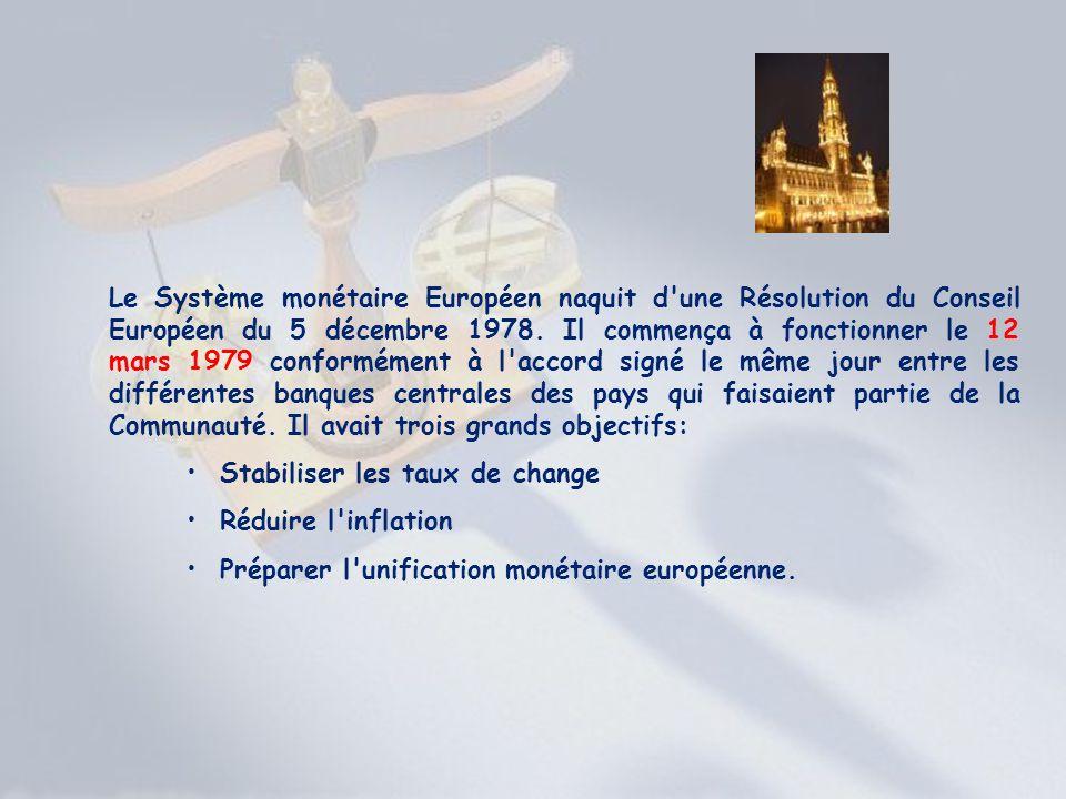 Le Système monétaire Européen naquit d'une Résolution du Conseil Européen du 5 décembre 1978. Il commença à fonctionner le 12 mars 1979 conformément à