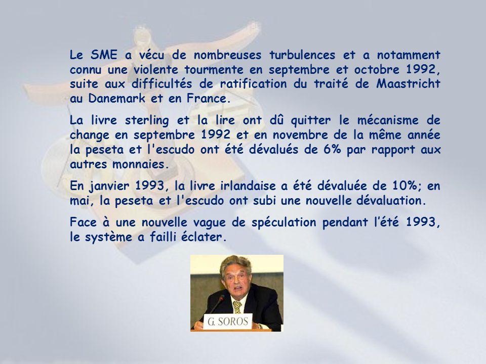 Le SME a vécu de nombreuses turbulences et a notamment connu une violente tourmente en septembre et octobre 1992, suite aux difficultés de ratificatio