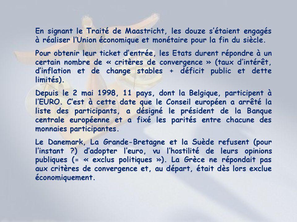 En signant le Traité de Maastricht, les douze sétaient engagés à réaliser lUnion économique et monétaire pour la fin du siècle. Pour obtenir leur tick