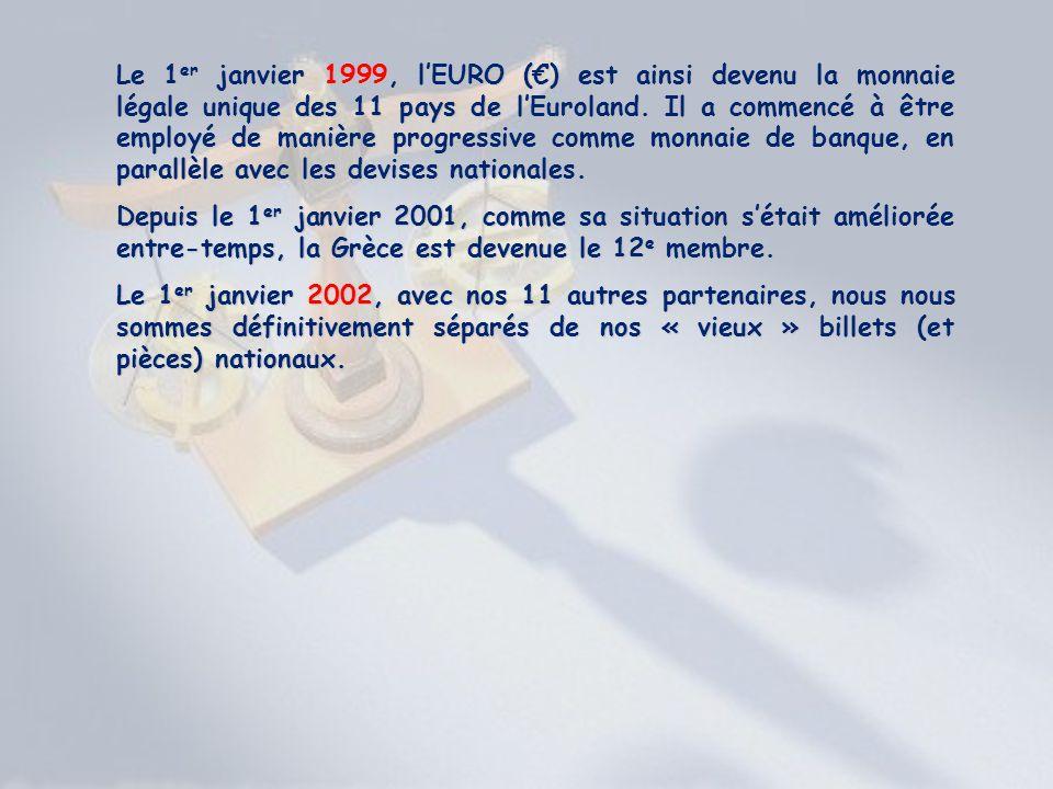 Le 1 er janvier 1999, lEURO () est ainsi devenu la monnaie légale unique des 11 pays de lEuroland. Il a commencé à être employé de manière progressive