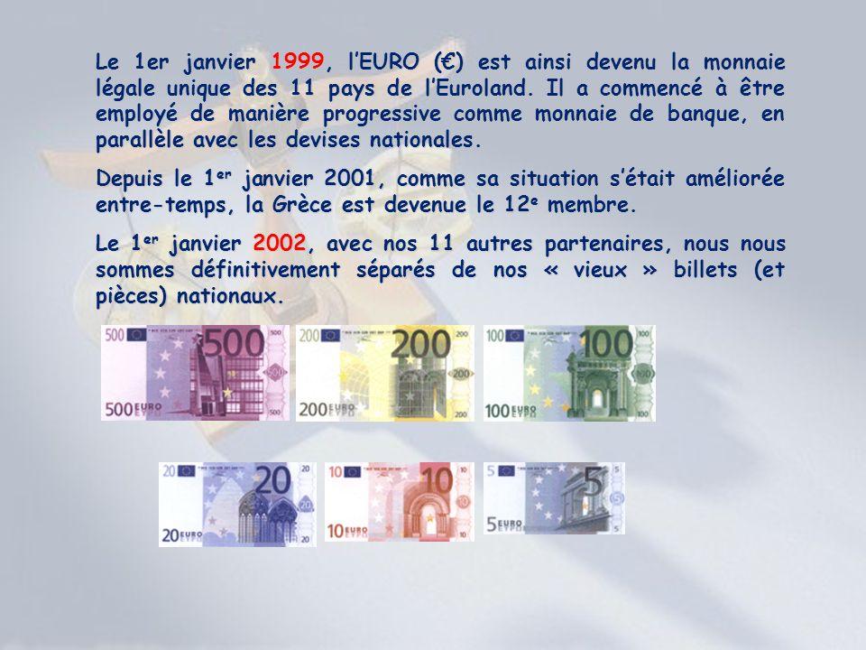 Le 1er janvier 1999, lEURO () est ainsi devenu la monnaie légale unique des 11 pays de lEuroland. Il a commencé à être employé de manière progressive