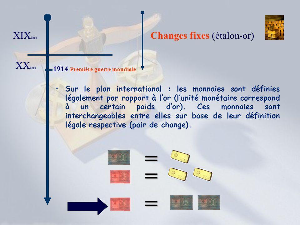 XIX ème Changes fixes Changes fixes (étalon-or) XX ème 1914 Première guerre mondiale 1918 Entre 1914 et 1918, la convertibilité intérieure de la monnaie en or fut suspendue.