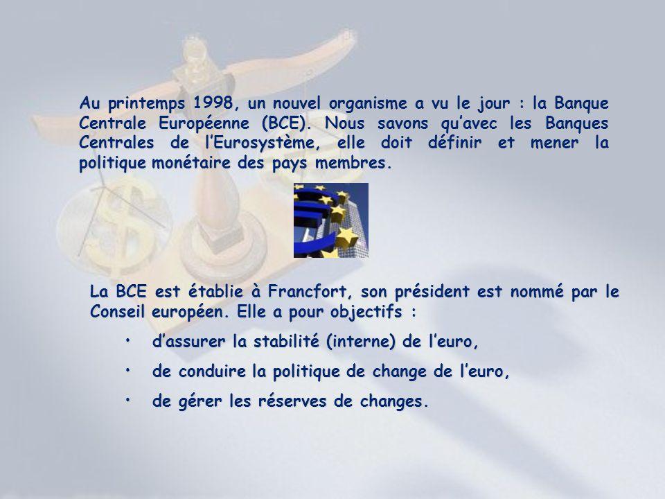 Au printemps 1998, un nouvel organisme a vu le jour : la Banque Centrale Européenne (BCE). Nous savons quavec les Banques Centrales de lEurosystème, e