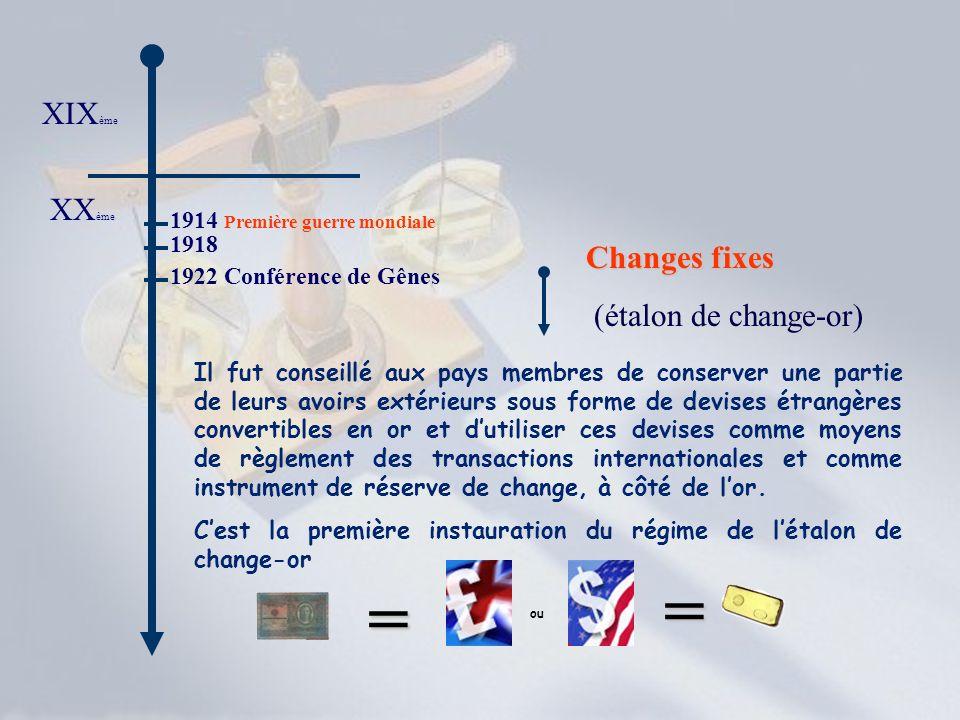 XIX ème XX ème 1914 Première guerre mondiale 1918 1922 Conférence de Gênes Changes fixes (étalon de change-or) Il fut conseillé aux pays membres de co