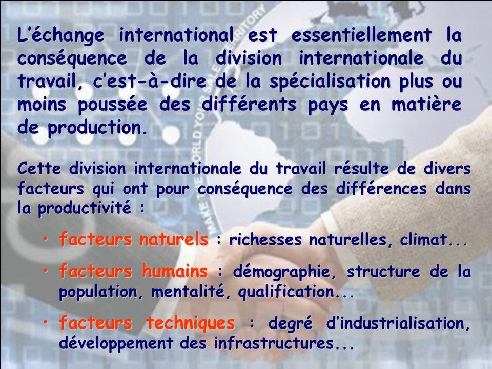 Cette division internationale du travail résulte de divers facteurs qui ont pour conséquence des différences dans la productivité : facteurs naturels : richesses naturelles, climat...facteurs naturels : richesses naturelles, climat...
