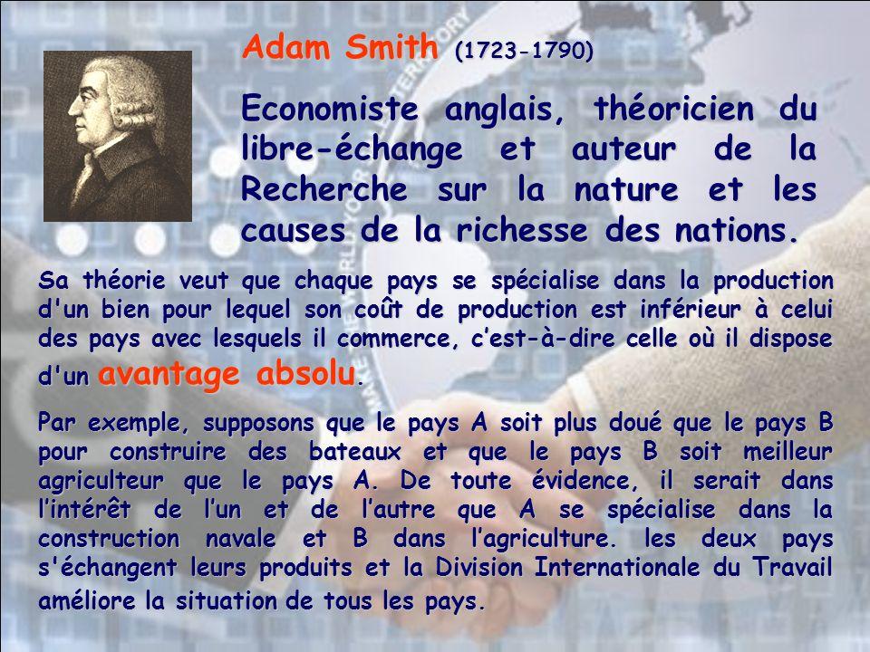 Sa théorie veut que chaque pays se spécialise dans la production d un bien pour lequel son coût de production est inférieur à celui des pays avec lesquels il commerce, cest-à-dire celle où il dispose d un avantage absolu.