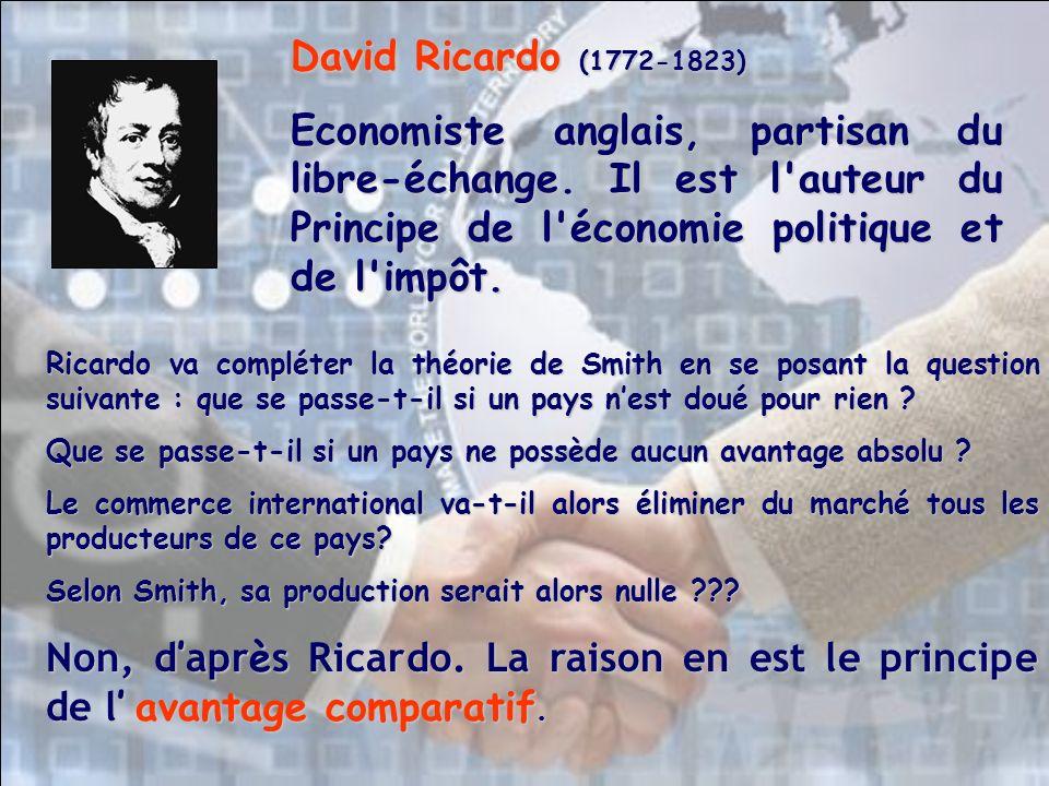 Ricardo va compléter la théorie de Smith en se posant la question suivante : que se passe-t-il si un pays nest doué pour rien ? Que se passe-t-il si u