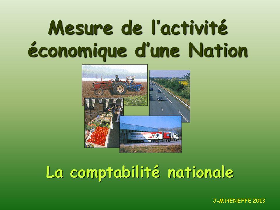La comptabilité nationale Mesure de lactivité économique dune Nation J-M HENEFFE 2013