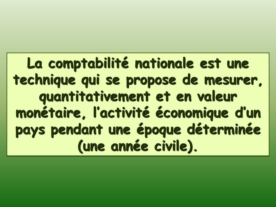 La comptabilité nationale est une technique qui se propose de mesurer, quantitativement et en valeur monétaire, lactivité économique dun pays pendant