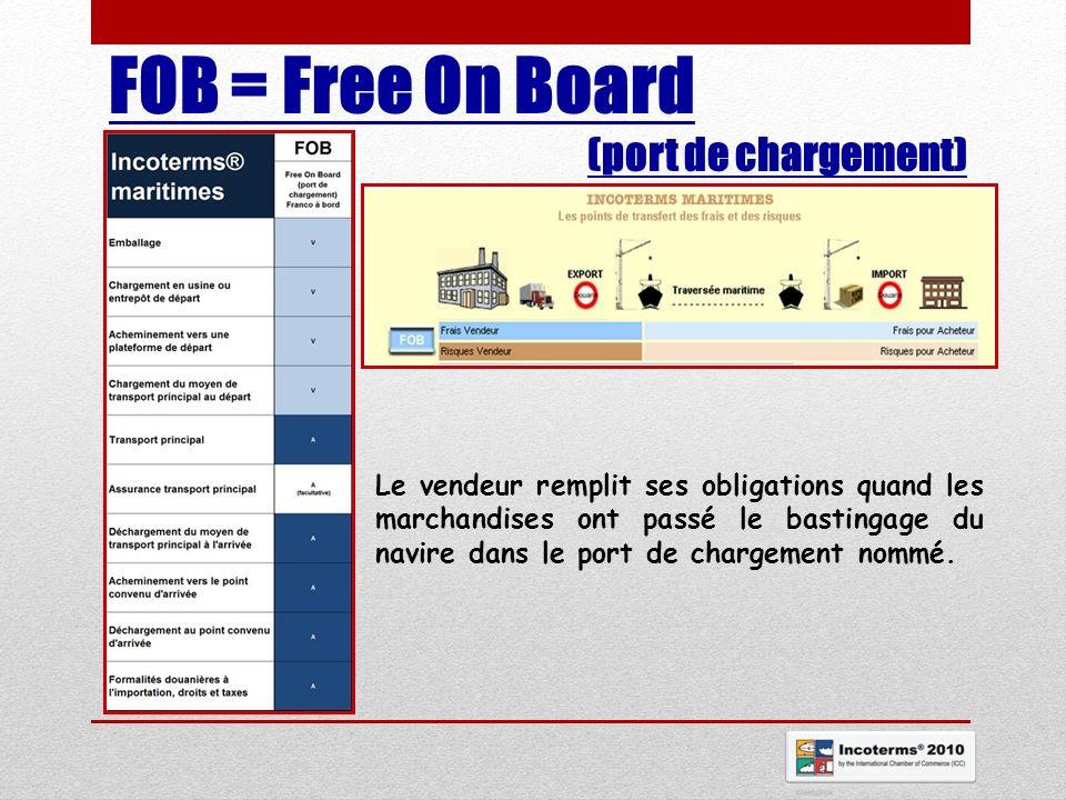 FOB = Free On Board (port de chargement) Le vendeur remplit ses obligations quand les marchandises ont passé le bastingage du navire dans le port de c