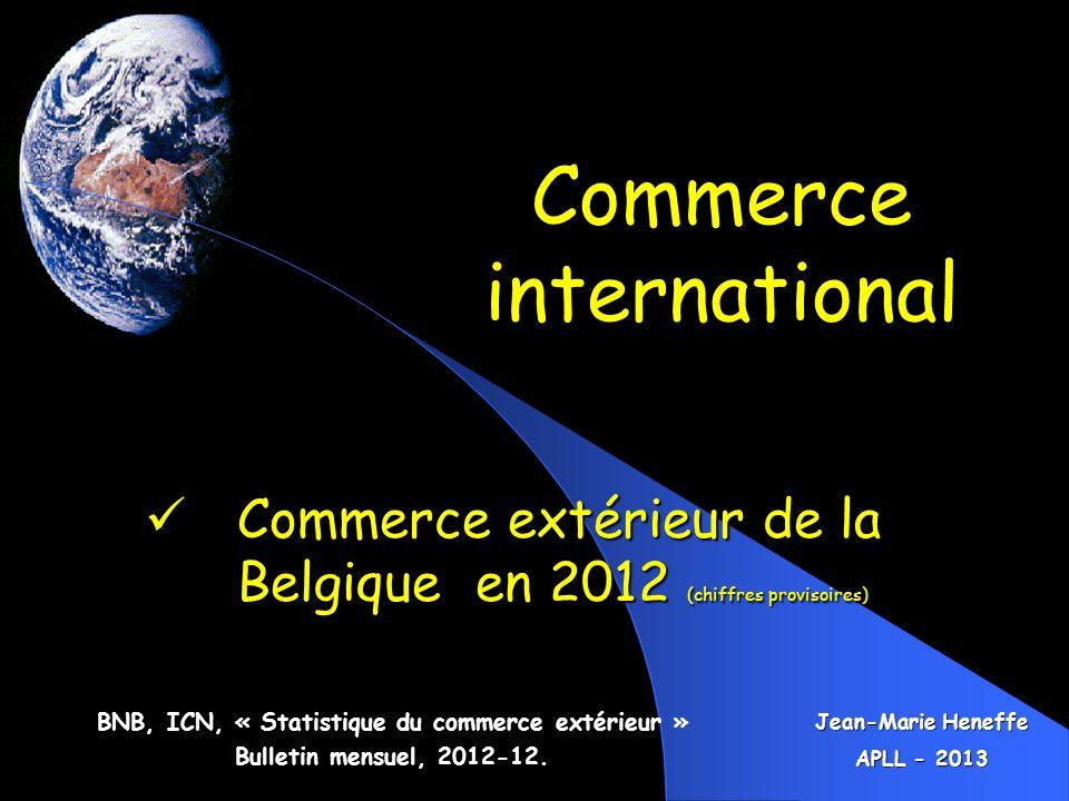 Commerce international BNB, ICN, « Statistique du commerce extérieur » Bulletin mensuel, 2012-12. Commerce extérieur de la Belgique en 2012 (chiffres