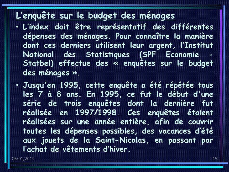 06/01/201415 Lindex doit être représentatif des différentes dépenses des ménages.