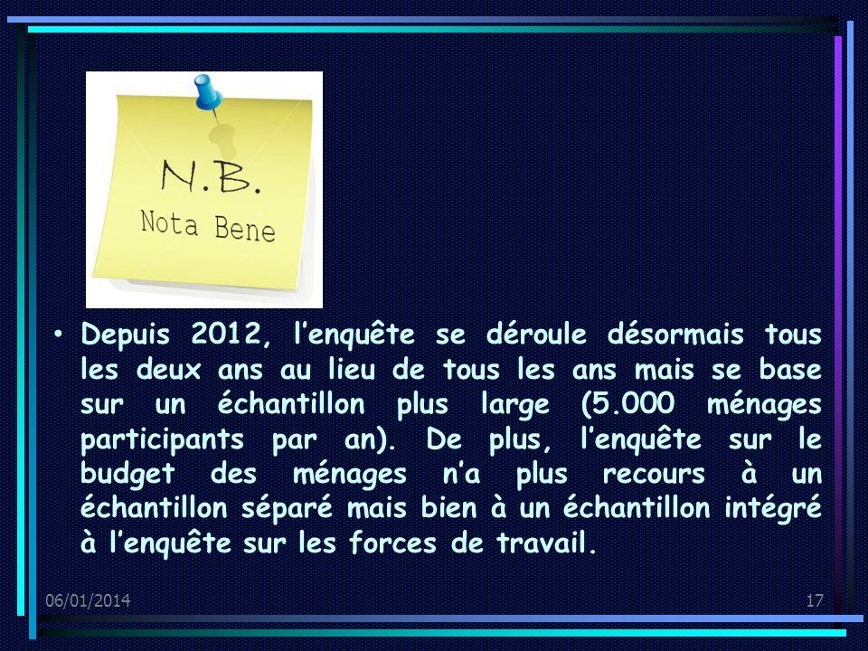 06/01/201417 Depuis 2012, lenquête se déroule désormais tous les deux ans au lieu de tous les ans mais se base sur un échantillon plus large (5.000 ménages participants par an).