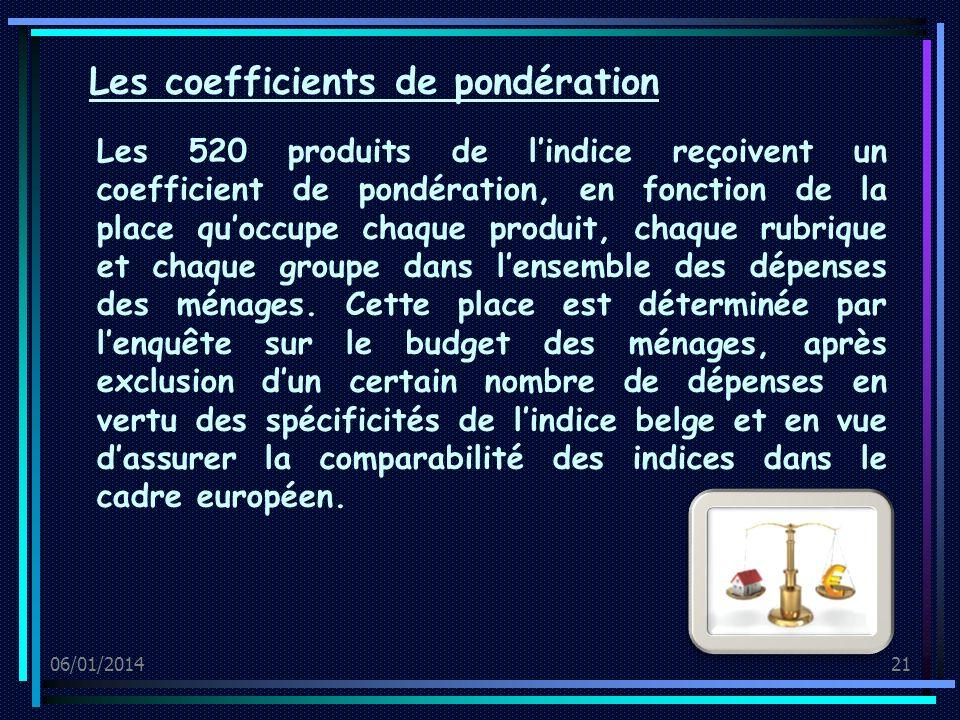 06/01/201421 Les 520 produits de lindice reçoivent un coefficient de pondération, en fonction de la place quoccupe chaque produit, chaque rubrique et chaque groupe dans lensemble des dépenses des ménages.