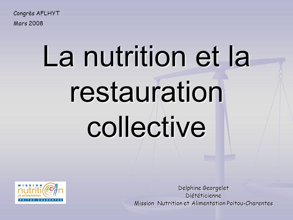 La nutrition et la restauration collective Delphine Georgelet Diététicienne Mission Nutrition et Alimentation Poitou-Charentes Congrès AFLHYT Mars 200