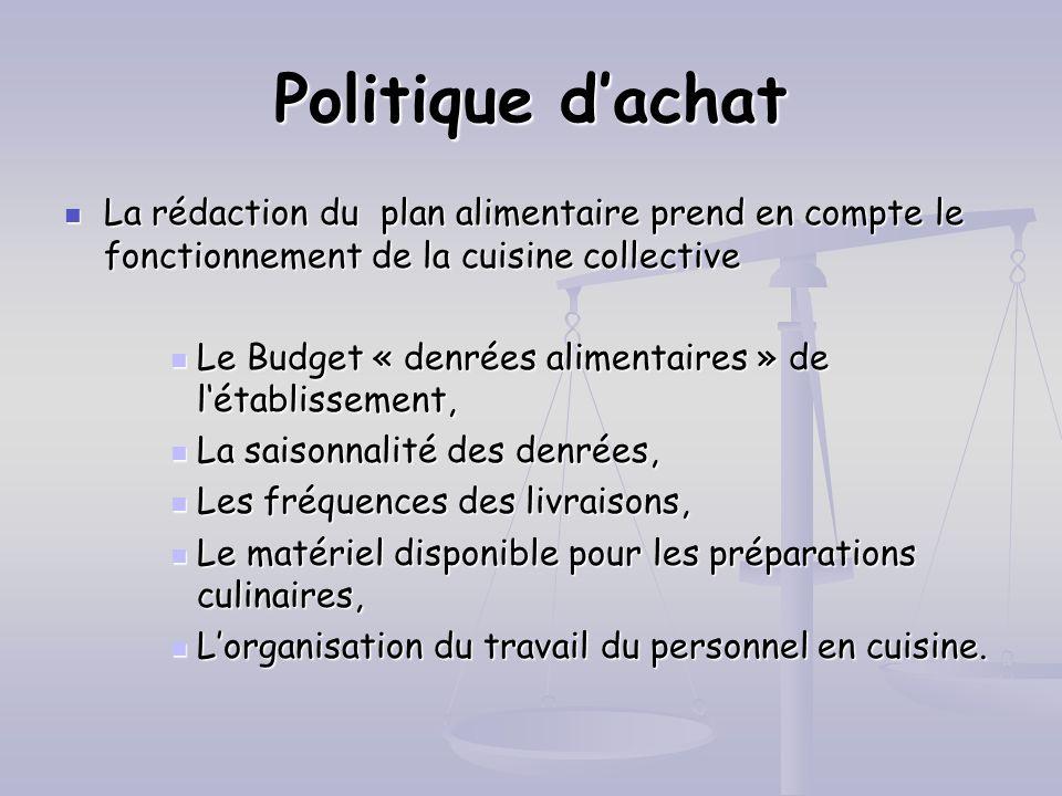 Politique dachat La rédaction du plan alimentaire prend en compte le fonctionnement de la cuisine collective La rédaction du plan alimentaire prend en