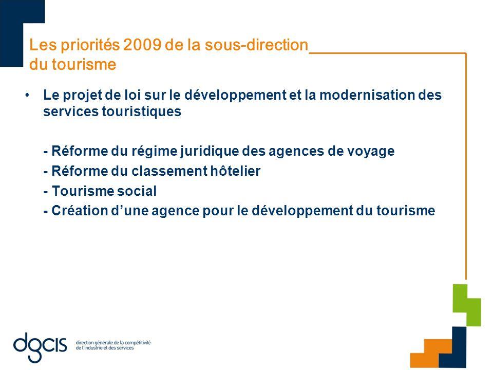 Les priorités 2009 de la sous-direction du tourisme Le projet de loi sur le développement et la modernisation des services touristiques - Réforme du régime juridique des agences de voyage - Réforme du classement hôtelier - Tourisme social - Création dune agence pour le développement du tourisme