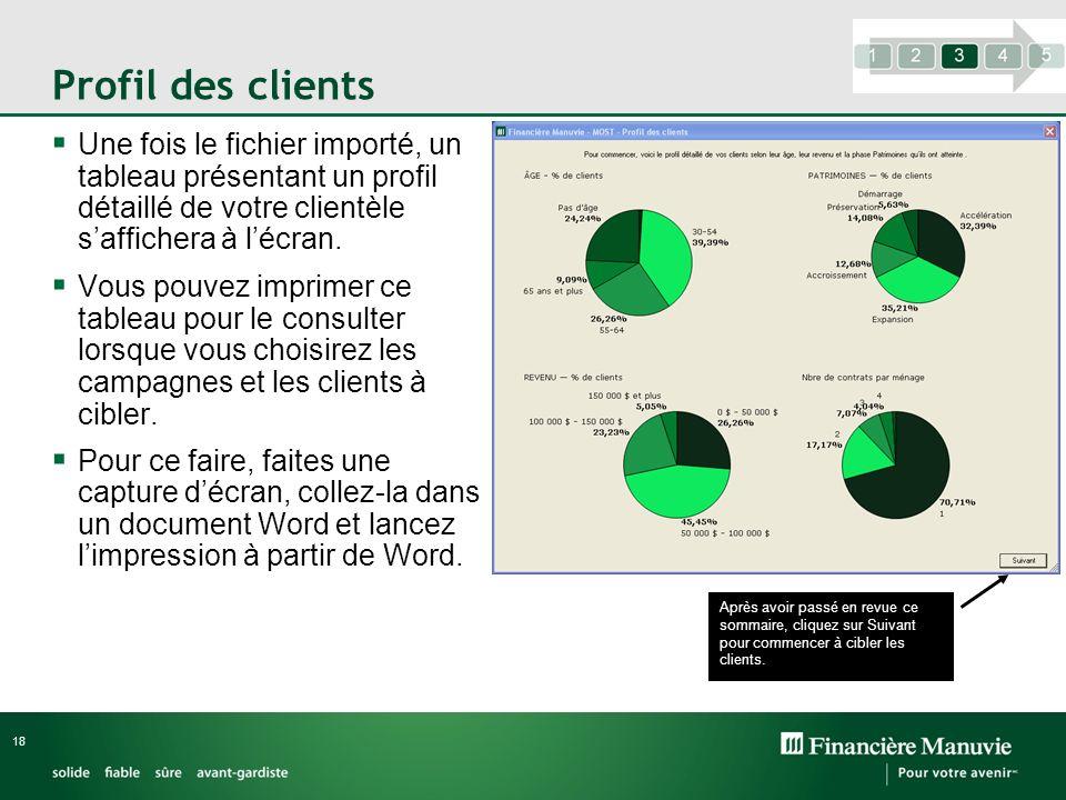 Profil des clients Une fois le fichier importé, un tableau présentant un profil détaillé de votre clientèle saffichera à lécran. Vous pouvez imprimer