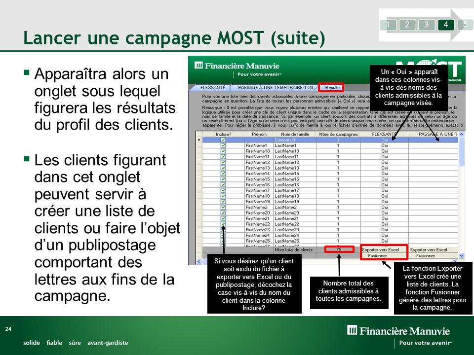 Lancer une campagne MOST (suite) Apparaîtra alors un onglet sous lequel figurera les résultats du profil des clients. Les clients figurant dans cet on
