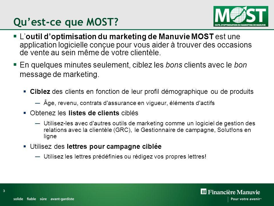 Quest-ce que MOST? Loutil doptimisation du marketing de Manuvie MOST est une application logicielle conçue pour vous aider à trouver des occasions de