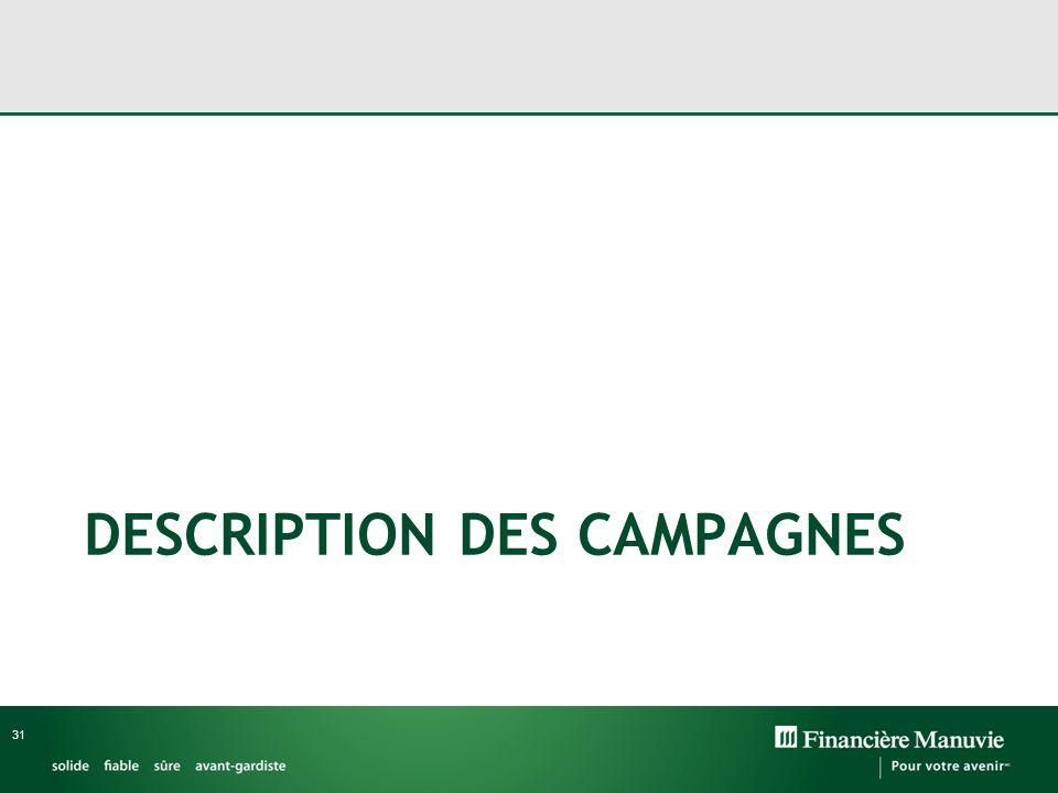 DESCRIPTION DES CAMPAGNES 31