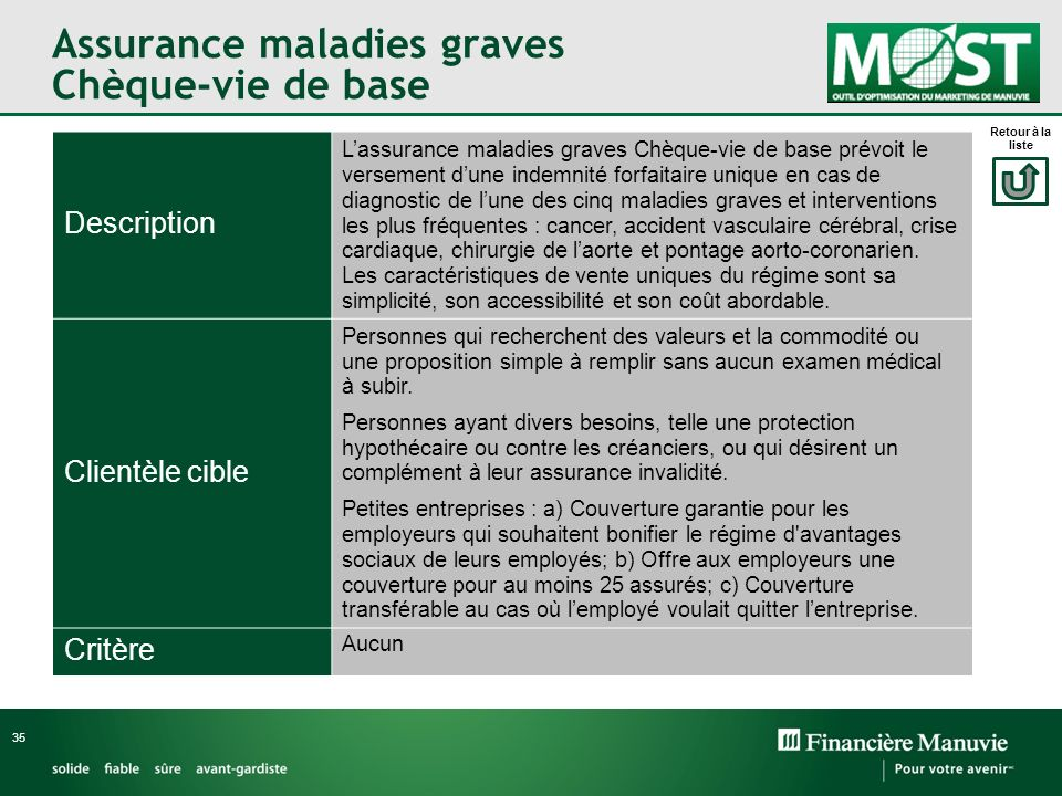 Assurance maladies graves Chèque-vie de base 35 Description Lassurance maladies graves Chèque-vie de base prévoit le versement dune indemnité forfaita