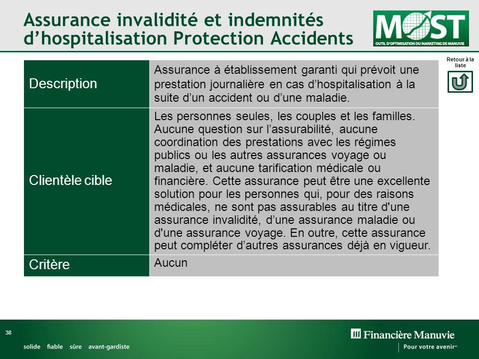 Assurance invalidité et indemnités dhospitalisation Protection Accidents 38 Description Assurance à établissement garanti qui prévoit une prestation j