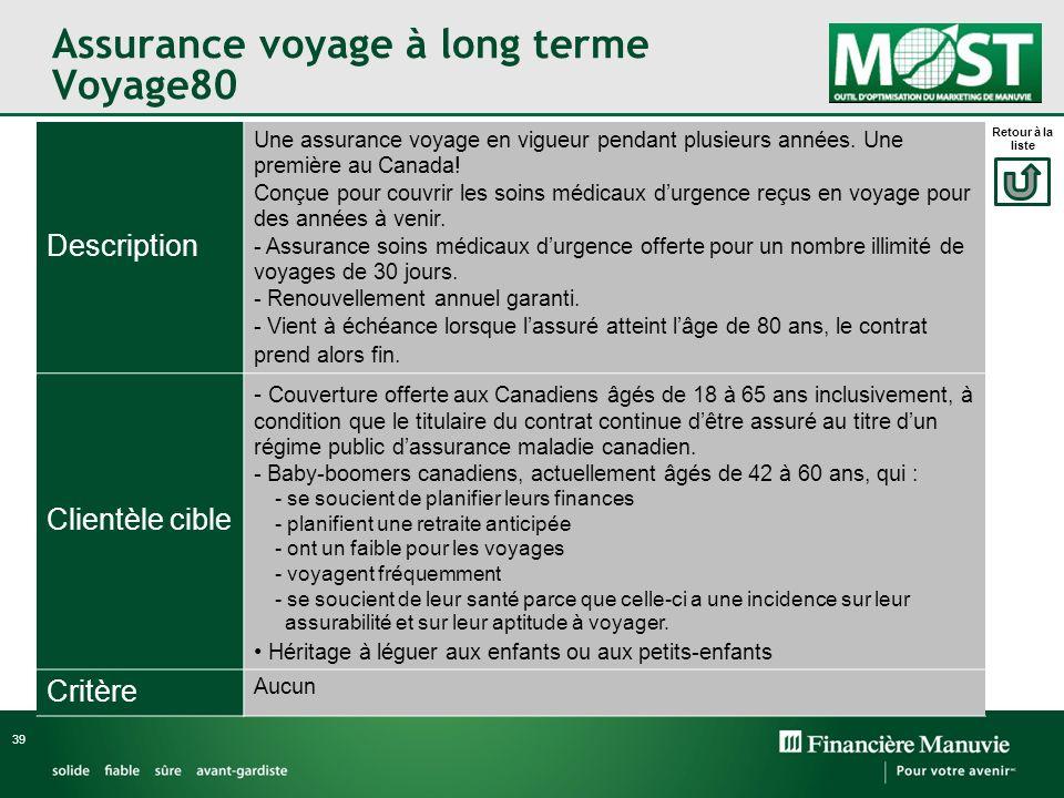 Assurance voyage à long terme Voyage80 39 Description Une assurance voyage en vigueur pendant plusieurs années. Une première au Canada! Conçue pour co