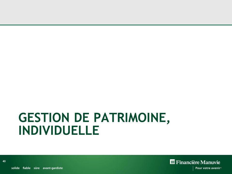 GESTION DE PATRIMOINE, INDIVIDUELLE 40