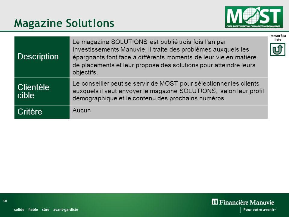 Magazine Solut!ons 50 Description Le magazine SOLUT!ONS est publié trois fois lan par Investissements Manuvie. Il traite des problèmes auxquels les ép