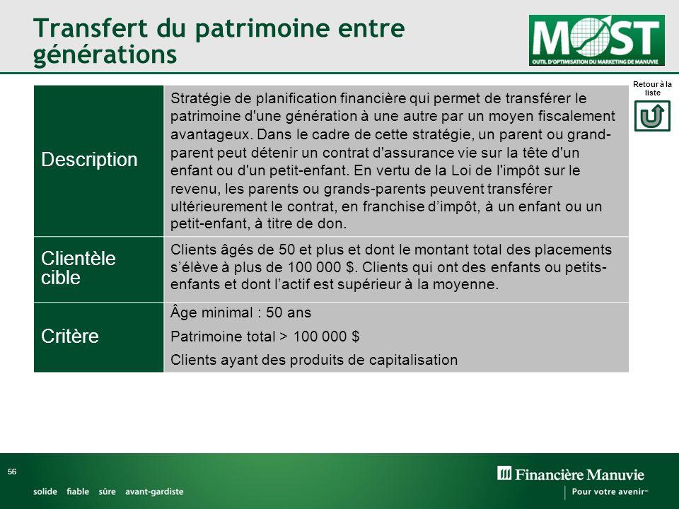 Transfert du patrimoine entre générations 56 Description Stratégie de planification financière qui permet de transférer le patrimoine d'une génération