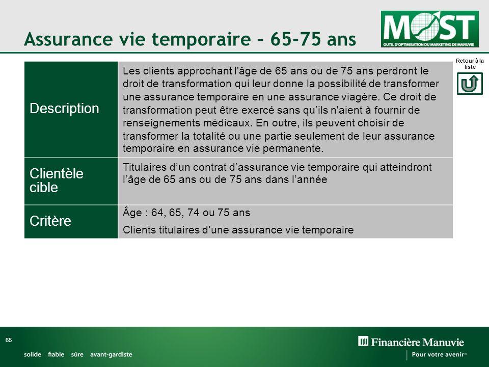 Assurance vie temporaire – 65-75 ans 65 Description Les clients approchant l'âge de 65 ans ou de 75 ans perdront le droit de transformation qui leur d