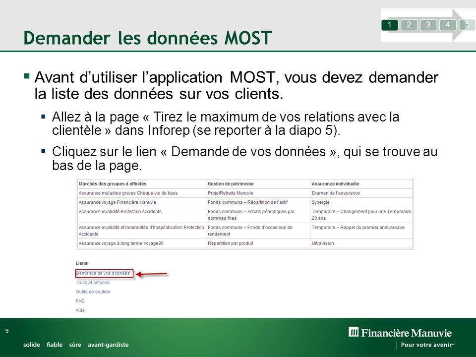 Demander les données MOST 9 Avant dutiliser lapplication MOST, vous devez demander la liste des données sur vos clients. Allez à la page « Tirez le ma