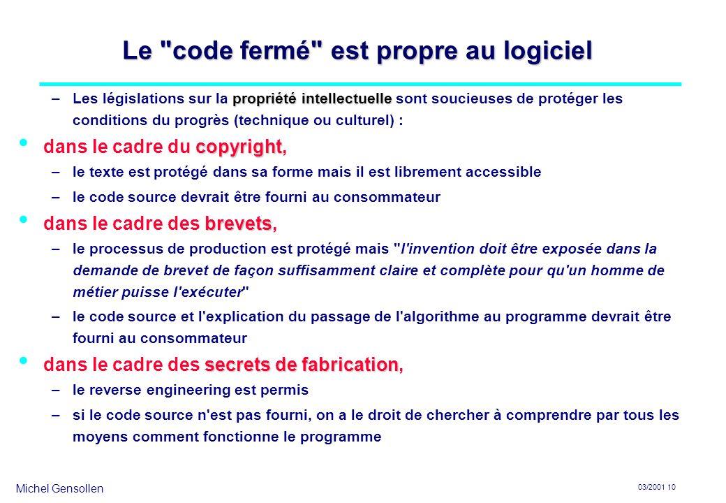 Michel Gensollen 03/2001 10 Le