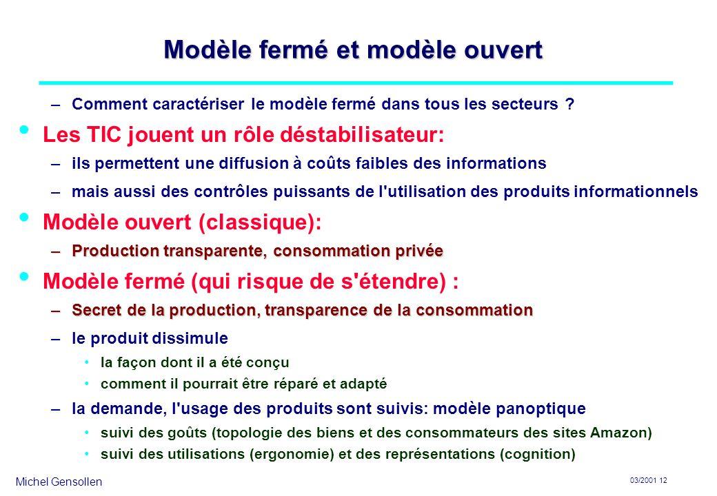 Michel Gensollen 03/2001 12 Modèle fermé et modèle ouvert –Comment caractériser le modèle fermé dans tous les secteurs ? Les TIC jouent un rôle déstab