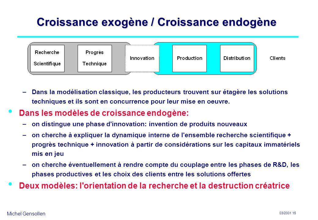 Michel Gensollen 03/2001 15 Croissance exogène / Croissance endogène –Dans la modélisation classique, les producteurs trouvent sur étagère les solutio