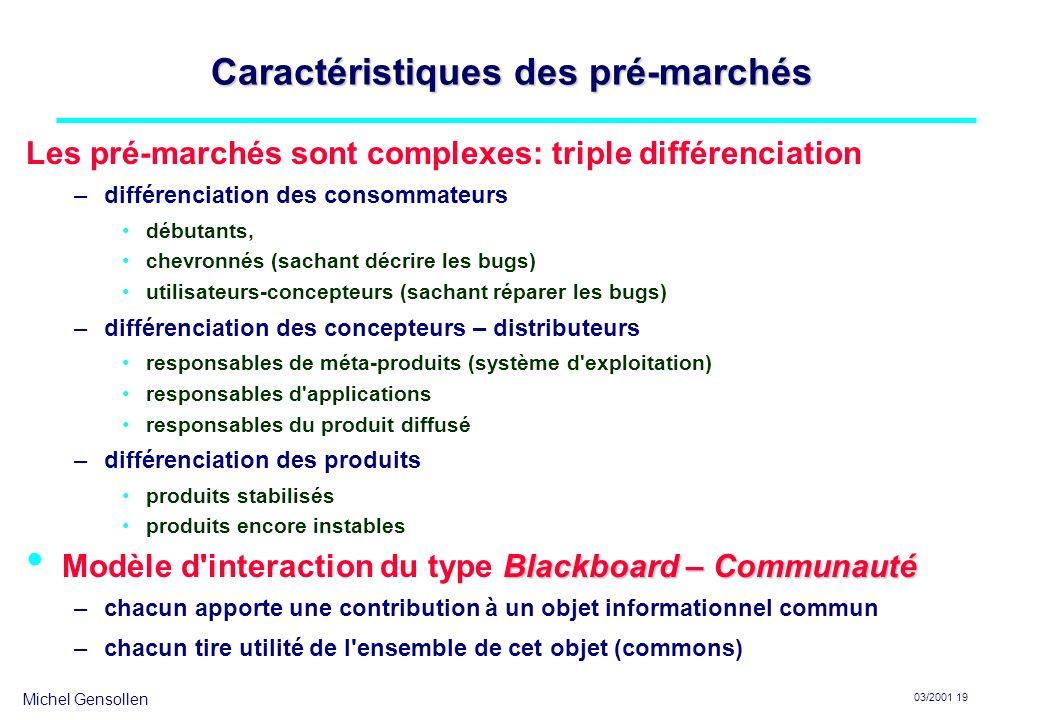 Michel Gensollen 03/2001 19 Caractéristiques des pré-marchés Les pré-marchés sont complexes: triple différenciation –différenciation des consommateurs