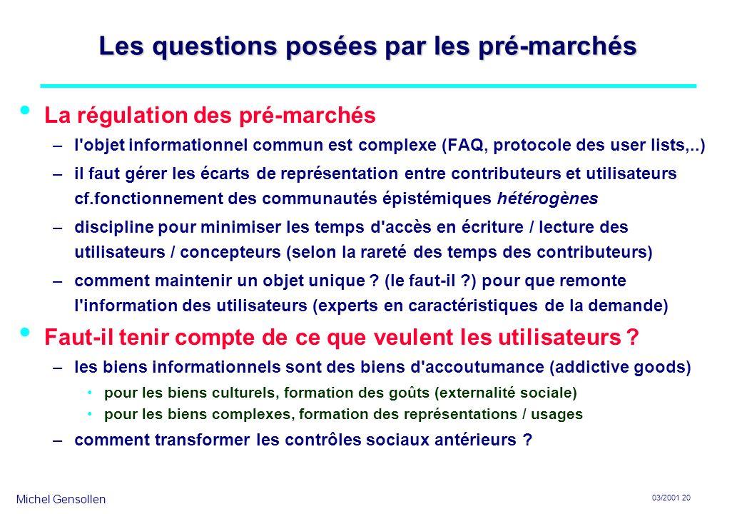 Michel Gensollen 03/2001 20 Les questions posées par les pré-marchés La régulation des pré-marchés –l'objet informationnel commun est complexe (FAQ, p